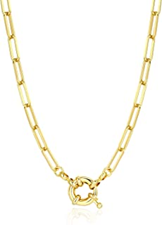 """Women Chain Necklace, 14K Gold Plated Paperclip Link Chain Necklaces for Girs, 17"""", 20"""", 24"""""""