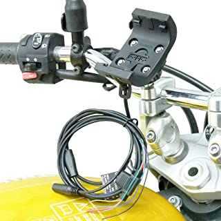 Rugged Mount with Audio/Power Cable with M8 Motorcycle Mount for Garmin Montana 600/610 / 650 / 650t / 680 / 680t