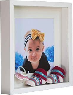BD ART 9x9 (23 x 23 x 4.7 cm) White Shadow Box 3D Square Picture Frame with Mat for 5x5 inch Photo, Glass Front