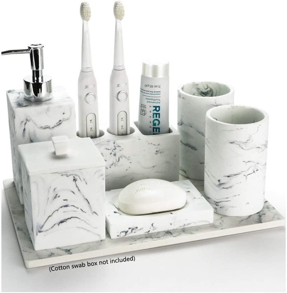 Durable Bath Accessory Set Bathroom Accessories Set Resin Marble