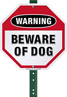 SmartSign Warning Beware of Dog Sign with Stake 3 Feet Tall, for Yard/Lawn | 10 Inches Octagon Stop Shape, Aluminum Metal Sign for Outdoors, Rust-Proof