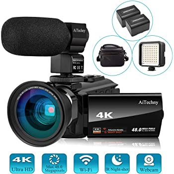 Amazon Com Video Camera 4k Camcorder Vlogging Camera For Youtube Aitechny Ultra Hd 48mp Digital Wifi Camera 3 0 Ips Touch Screen Ir Night Vision 16x Digital Zoom Recorder With Microphone Wide Angle
