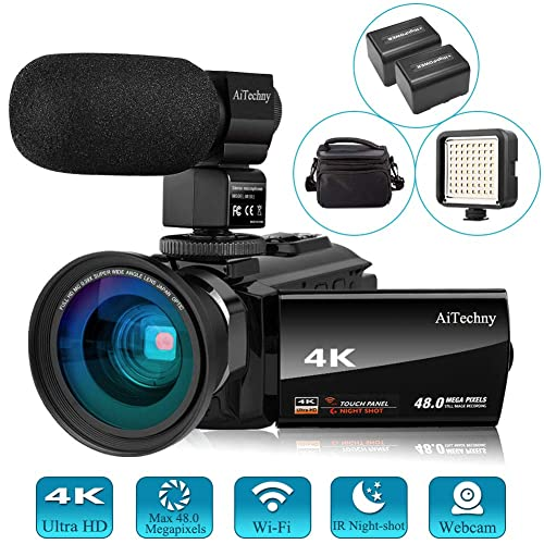 """Video Camera 4K Camcorder Vlogging Camera for YouTube AiTechny Ultra HD 48MP Digital WiFi Camera 3.0"""" IPS Touch Screen IR Night Vision 16X Digital Zoom Recorder with Microphone, Wide Angle Lens"""