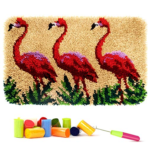 Latch Hook Kit Rug with Crochet Needlework Crafts Shaggy DIY Latchkits for Adults/Kids Handcraft Home Decoration Gift (Flamingo)