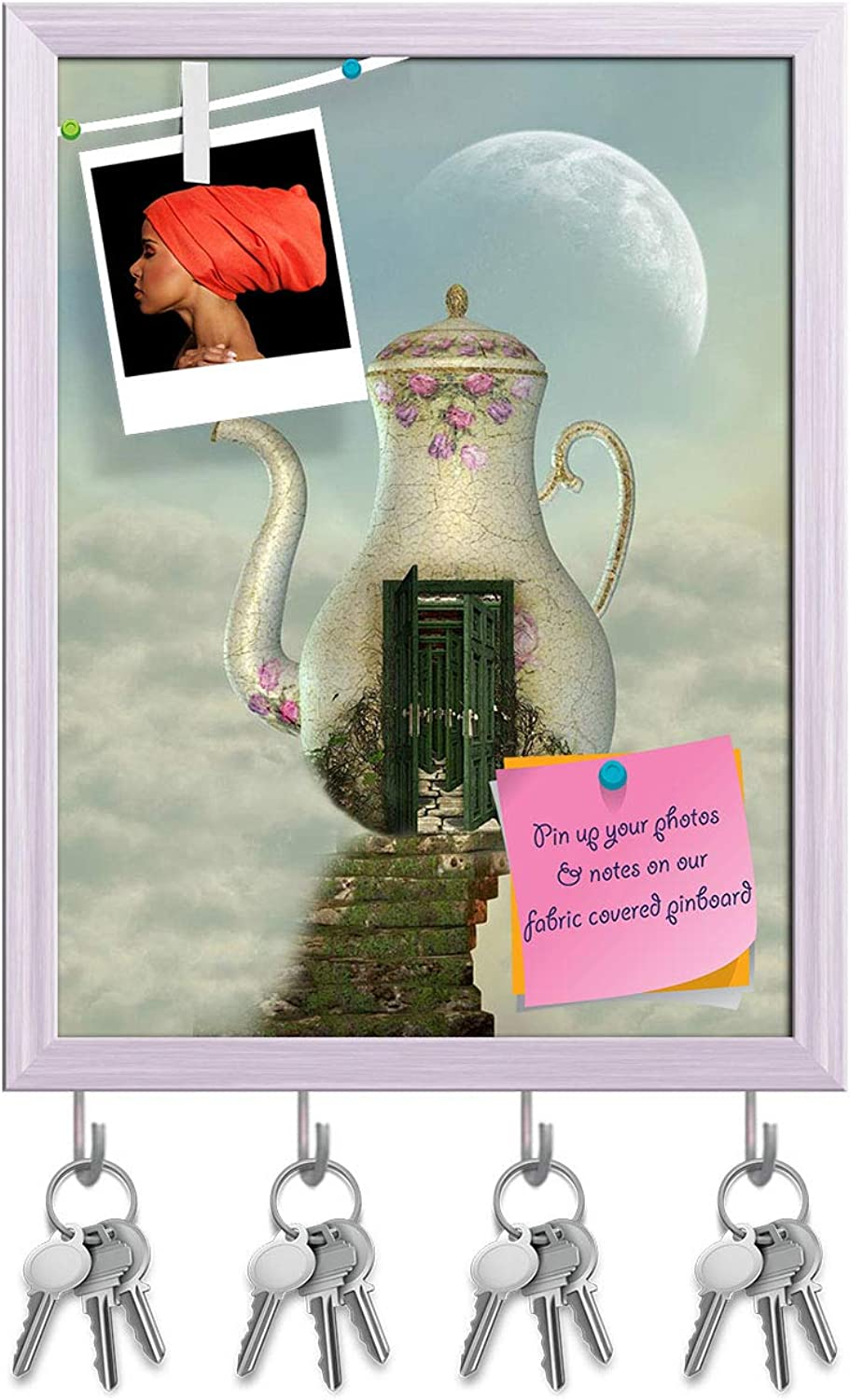 Artzfolio Teapot House in The Sky Key Holder Hooks   Notice Pin Board   White Frame 12 X 15.7Inch