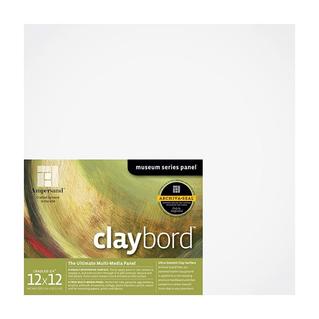 Ampersand Museum Series Claybord Panels for Paint and Ink, 3/4 inch Depth Cradled, 12X12 inch (CBSC122)