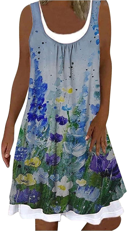 Summer Dresses, Womens Casual Beach Sundress Fashion Sleeveless Bohemian Dress Loose Tank Dress Floral Midi Dress