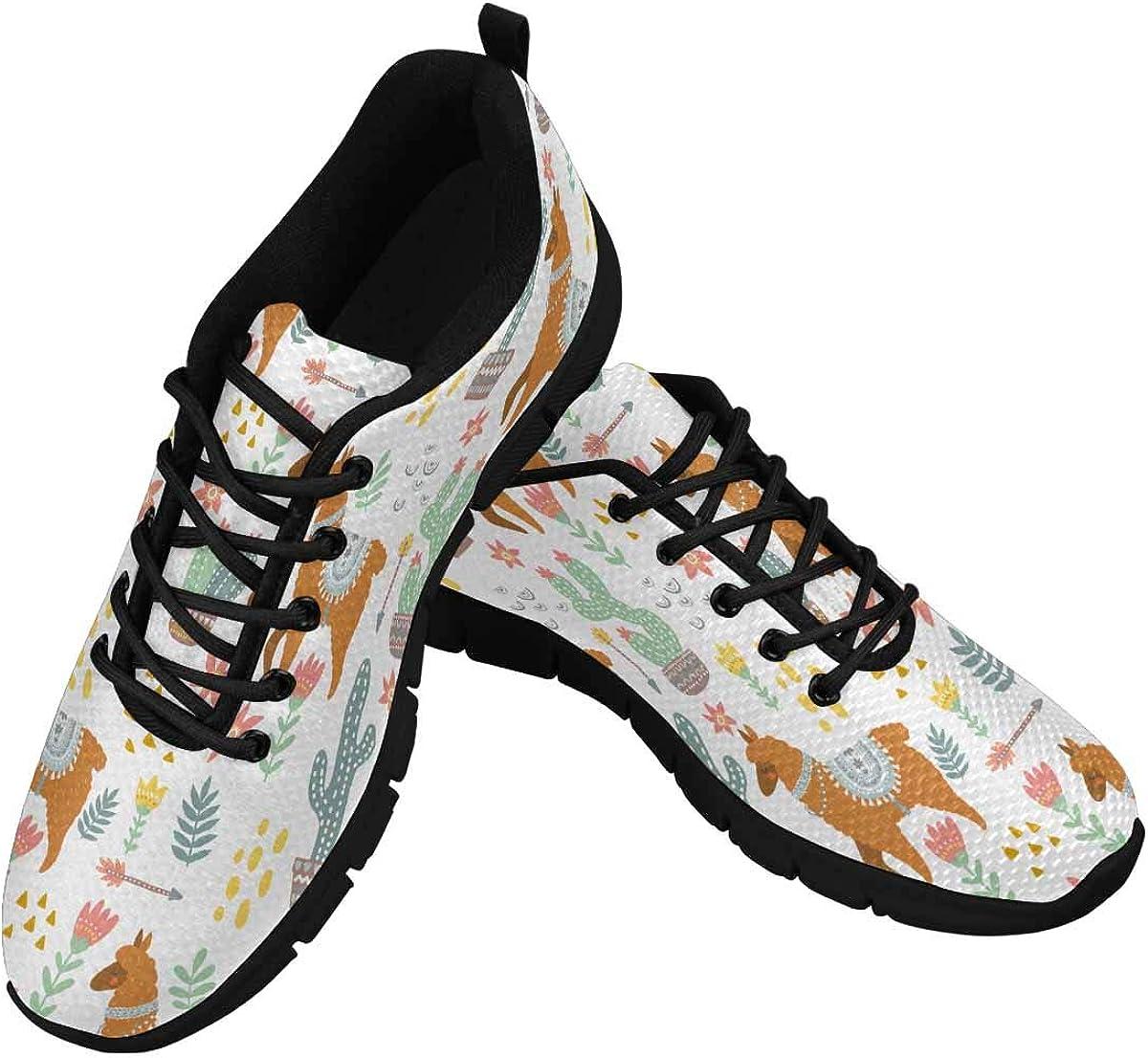 INTERESTPRINT Hippie Alpaca Llama Women's Tennis Running Shoes Lightweight Sneakers
