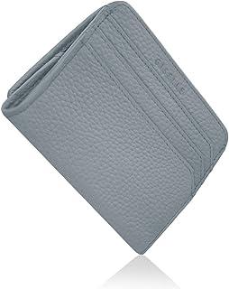 GISELLE 財布 レディース 薄型 極薄 ミニ財布 小さい ミニウォレット 牛革 薄い BOX型 小銭入れ カード入れ ミニマリスト 大容量 コンパクト スリム 革 レザー (iris Blue/アイリスブルー)
