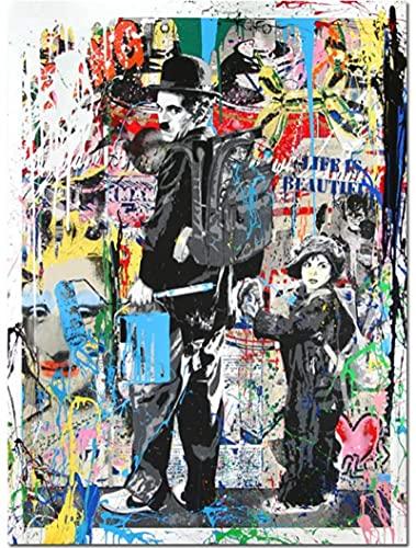 JCYMC Puzzle en Bois 1000 Pièces Coloré Charlie Chaplin Banksy Graffiti Réplique Puzzles Jouets Éducatifs pour Adulte Cadeau d'anniversaire Yp43Vq