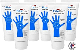6 Pack Alcohol Free Hand Sanitizer Germicidal Gel-No Drying Foam-Advanced Moisturizers-Active Ingredient Stays on Skin-3oz Tube & Pouch by fiteBac