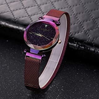 Wristband Wristwatch Water Resistant Fashion Women Quartz Wrist Watch with Stainless Steel Band 6877 Watch,Colour Name:Pur...
