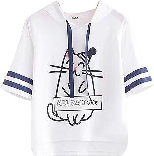 [エージョン] ガールズ ブラウス フード付き トップス 半袖 可愛い ゆったり 猫プリント シンプル プルオーバー ファッション