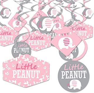 Pink Elephant - Girl Baby Shower or Birthday Party Hanging Decor - Party Decoration Swirls - Set of 40