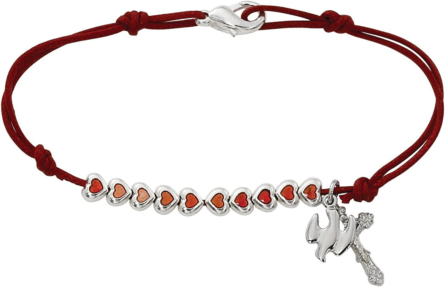 Red Rope Bracelet (BR387) with Red Enamel Hearts and Holy Spirit Charm