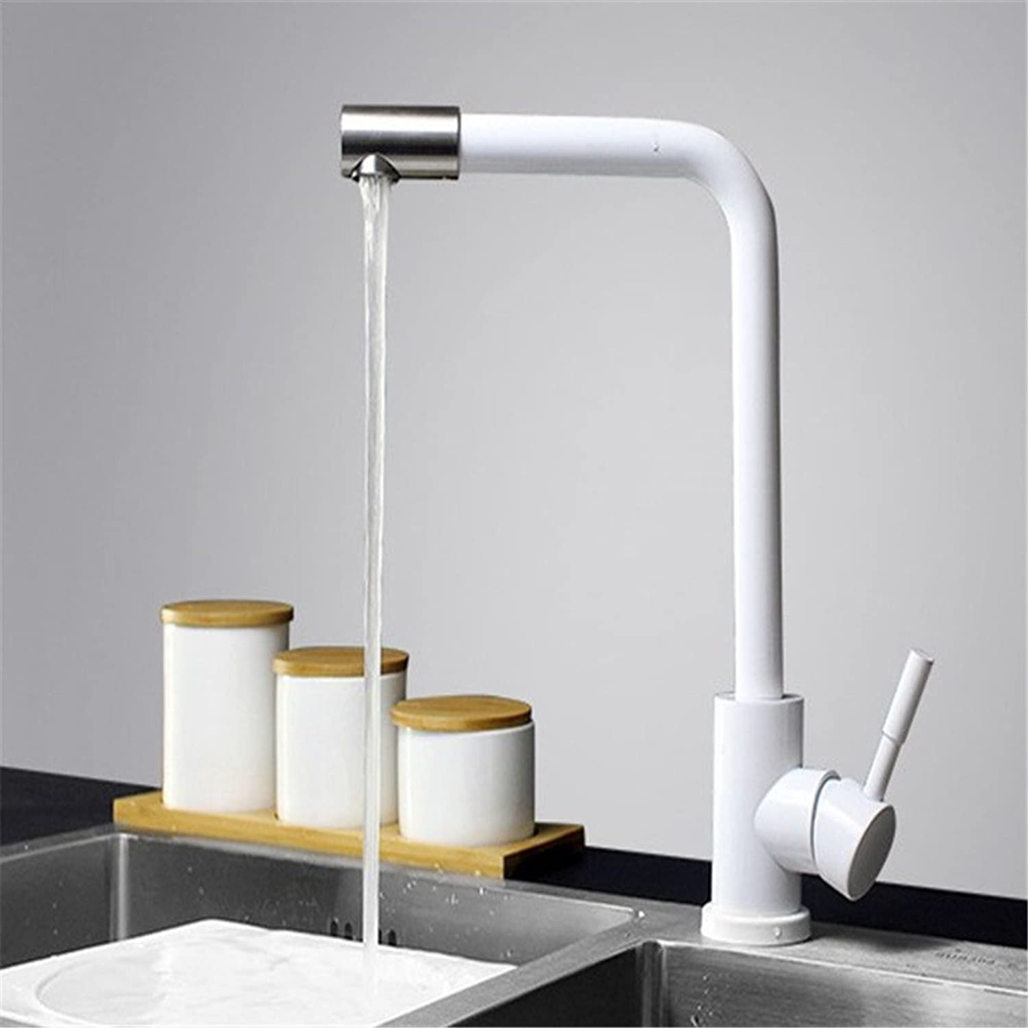Hlluya Professional Sink Mixer Tap Kitchen Faucet Kitchen Faucet Enamel white switch stainless steel kitchen hot and cold dual control paint faucet swivel tube