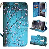 LG G Flex Case, Customerfirst Wallet Case Classic for LG G Flex 1st Generation - PU Leather Wallet Case Flip Stand Cover (Will Not Fit LG G Flex 2 2nd Generation) (Teal Lotus)