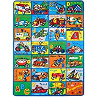 Kids Rug ABC Transportation Area Rug 7'10 x 11'3 non slip gel backing Color: ABC Transportation Size: large 7'10 x 11'3 Model: by Toys & Child