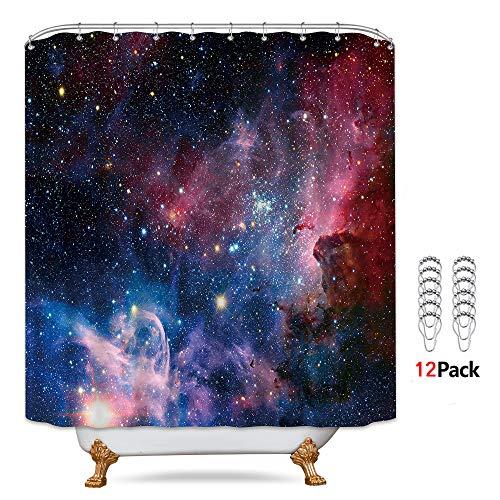 Riyidecor Weltraum-Galaxie-Duschvorhang, 183 x 183 cm, mit Metallhaken, 12 Stück, Universum, Planet, Sterne, violetter Himmel, Deko-Stoff-Set, Polyester, wasserdicht für Badezimmer