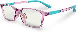عینک های سبک آبی آبی رایانه ای کودکان: ضد فشار بدن ضد تابش خیره کننده فیلتر مستطیلی اشعه ماورا بنفش مسدود کننده عینک عینک برای کودکان با صفحه نمایش لنزهای خواننده | دختران | پسران