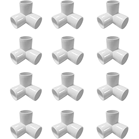 """3//4/"""" Furniture Grade 3-Way Corner Elbow PVC Fitting For DIY Projects 8 Pack"""