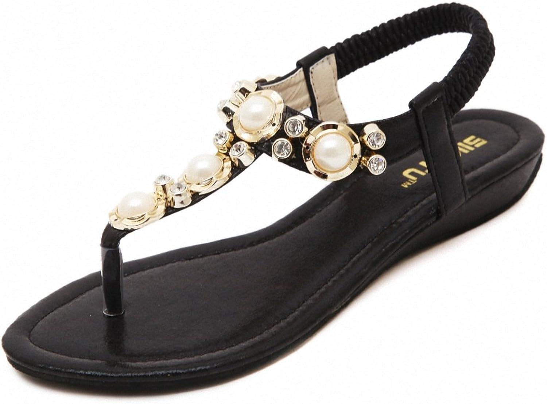 Women Bohemian Beaded Ankle Strap Sandals Flat Beach Strap shoes Herringbone Clip Toe Beach shoes