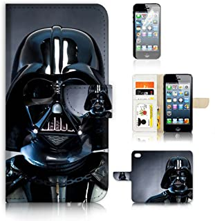 ( For iPhone 5 5S / iPhone SE ) Flip Wallet Case Cover and Screen Protector Bundle A6541 Darth Vader Starwars