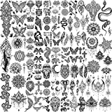 Shegazzi 58 Sheets Black Henna Temporary Tattoos For Women Girls, 6 Sheets Large Lotus Flower Snake Elephant Butterfly Hena Fake Tattoos Adults Kits, 52 Sheets Small Tribal Skull Tattoos Wedding Neck