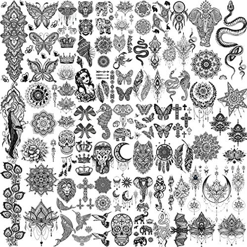 Shegazzi 58 Blatt Schwarz Temporäre Tattoos Frauen Mädchen, 6 Blatt Groß Lotus Blume Schlange Elefant Schmetterling Fake Tattoos Erwachsene Kits, 52 Blatt Klein Tribal Totenkopf Tattoos Hochzeit Hals