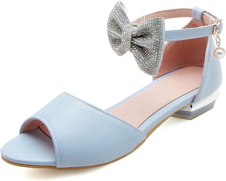 Young Nyjune Women Thick Low Heel Peep Toe Sandals Summer Bowtie Buckle Sweety Footwear Plus Size