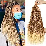 Passion Twist Hair 18 Inch 6 Packs/Lot Water Wave Crochet for Passion Twists Long Bohemian Hair Braiding Passion Twist Crochet Hair Braids Synthetic Hair Extensions (T27/613#)