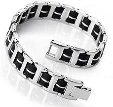 MHOOOA Bracelet Men'S Stainless Steel Rubber Bracelet Link Wrist Silver Blue Black I Rectangular Polished