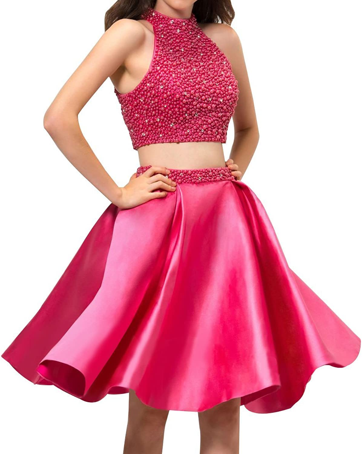 Beaded Two Pieces Homecoming Dresses Short Hlater Strapless ALine Cocktail Gowns