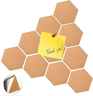 10 Pcs Hexagon Bulletin Cork Board Adhesive Wood Pins Notice Message Board Self Adhesive 5 mm Thick for Photo Wall Office Classroom Background Billboard Decoration