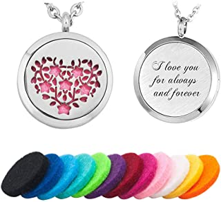 JewelryJo Aromatherapy Essential Oil Diffuser Necklace Gifts for Valentine's Day Couple Love Heart Locket Perfume Pendant & Refill Pads