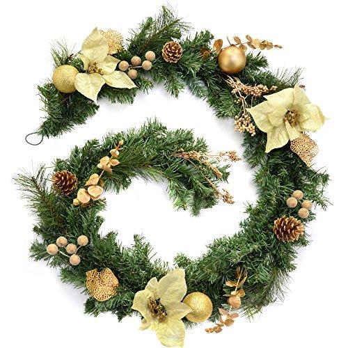 WeRChristmas - Ghirlanda natalizia decorativa, 180 cm, colore panna/oro