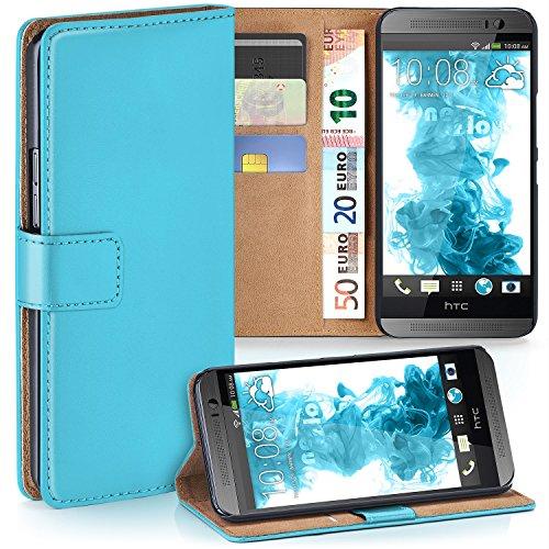 MoEx Premium Book-Hülle Handytasche passend für HTC One M8   Handyhülle mit Kartenfach & Ständer - 360 Grad Schutz Handy Tasche, Türkis