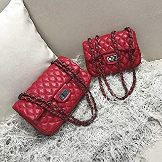Adebie - PU Leather Women Plaid Shoulder Bag Chain Messenger Bag Big Famous Brand Designer Classic Fashion Female Handbag Cross Body Bag L Red [L]