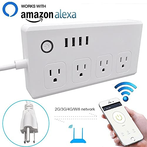 WiFi Smart Power Strip Socket with Alexa,Weton Multi-Plug Timer Switch Power Strip