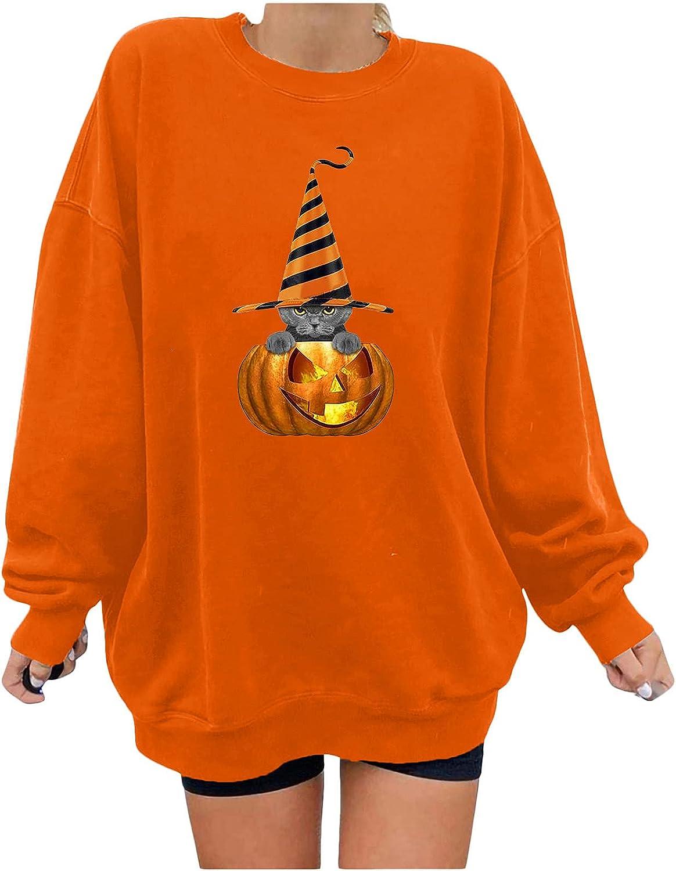 Halloween Sweatshirt for Women, Funny Pumpkin Print Tops Casual Long Sleeve Crewneck Blouse Loose Fit Pullover Hoodie