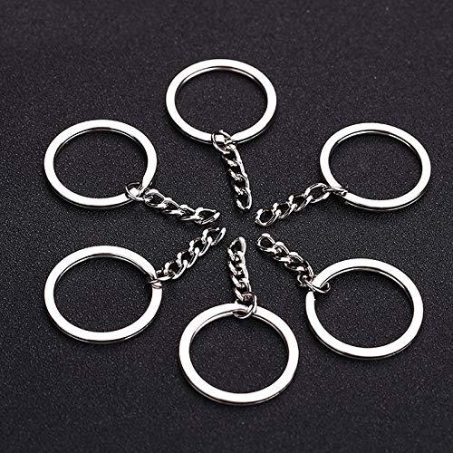 LINKLANK 10 Stück Schlüsselanhänger 25 mm Silber Farbe Metall Schlüsselhalter Spaltringe mit Kette Unisex Legierung Schlüsselanhänger Basic Schlüsselanhänger DIY Metall Zubehör