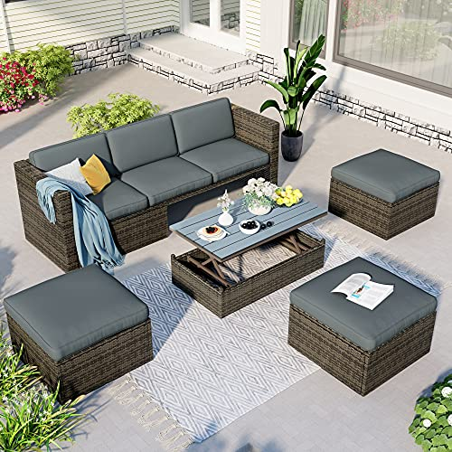 Merax 5 Pcs Conversation Sets, Outdoor Patio Sofa with Adjustable Backrest, Cushions, Ottomans and Lift Top Coffee Table, Gray