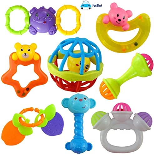 FunBlast Colourful Lovely Attractive Rattles and Teether for Babies (Multicolour) - Set of 8 Pieces