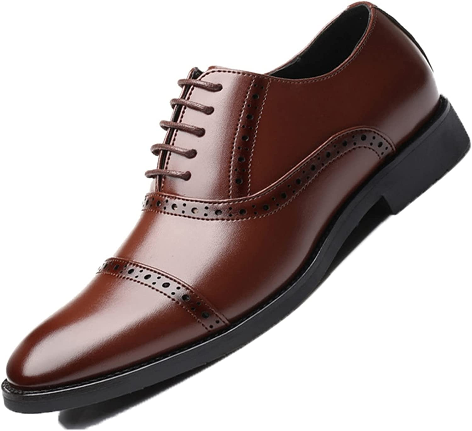 Men Brogue Shoes Comfortable Breathable Pointed Toe Lace up Oxfords Vintage Office Business Formal Leather Shoes