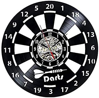 Reloj, Reloj de Pared  Dardos Vinyl Record Reloj de Pared Men & # 39; S Cave Game Room Decoration 3D Clock Wall Chart Dart Board Bar Bar Darts Game Night Club Decoration