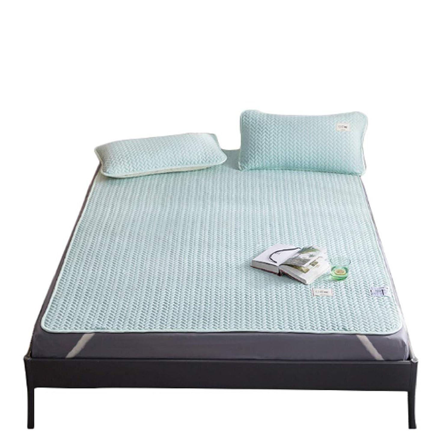 ボックス有益な混合Hanacat ひんやり寝具 シングル 2点セット 敷きパッド ベッドパッド 枕パッド 接触冷感 涼感 ライトグリーン