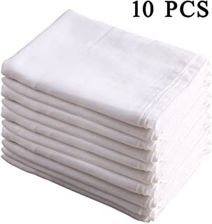 """10 Pcs 20""""X27"""" Burp Cloth Prefold Diapers Cover 100% Cotton Double Gauze White by Busy Mom"""