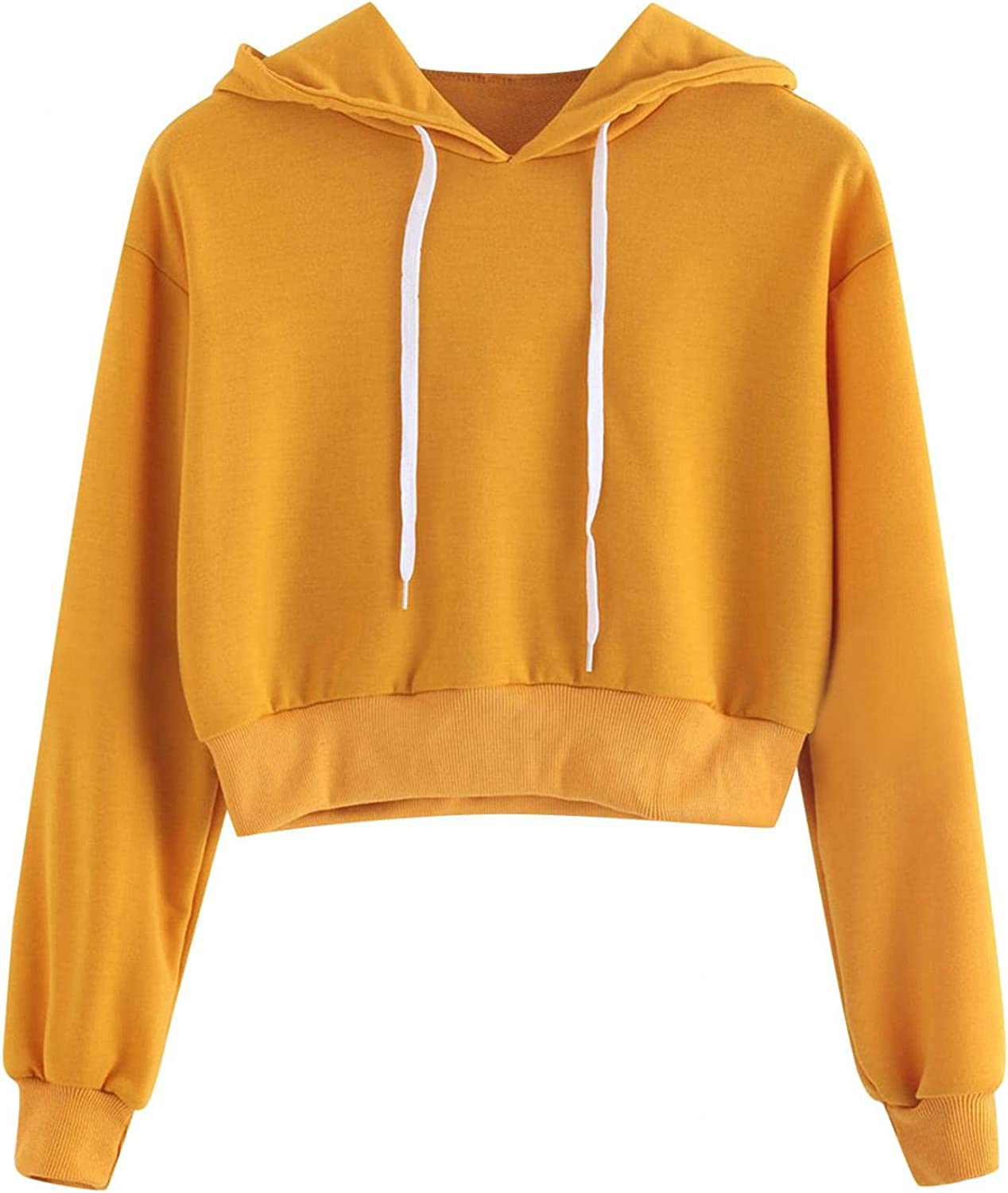 Haheyrte Hoodies for Womens Women Long Sleeve Drawstring Sweatshirt Crop Top Pullover Top Blouse Casual Shirts Sweaters