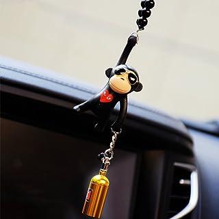 Best YGMONER Wearing Sunglasses Monkey Car Charm Interior Rear View Mirror Hanging (Black & nitrogen Bottle) Reviews