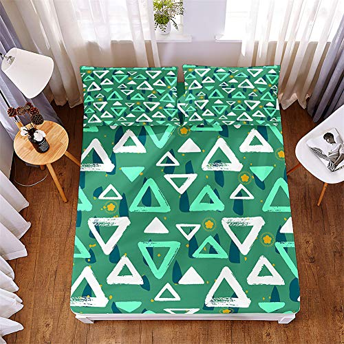 Oduo Fitted Sheet and Pillowcase Set, Microfibre Fade Resistant Bed Sheets with Deep Pocket 30cm and 2 Pillowcases (50x75cm) for Single Double King Size Bed (Green Triangle,150x200x30cm)